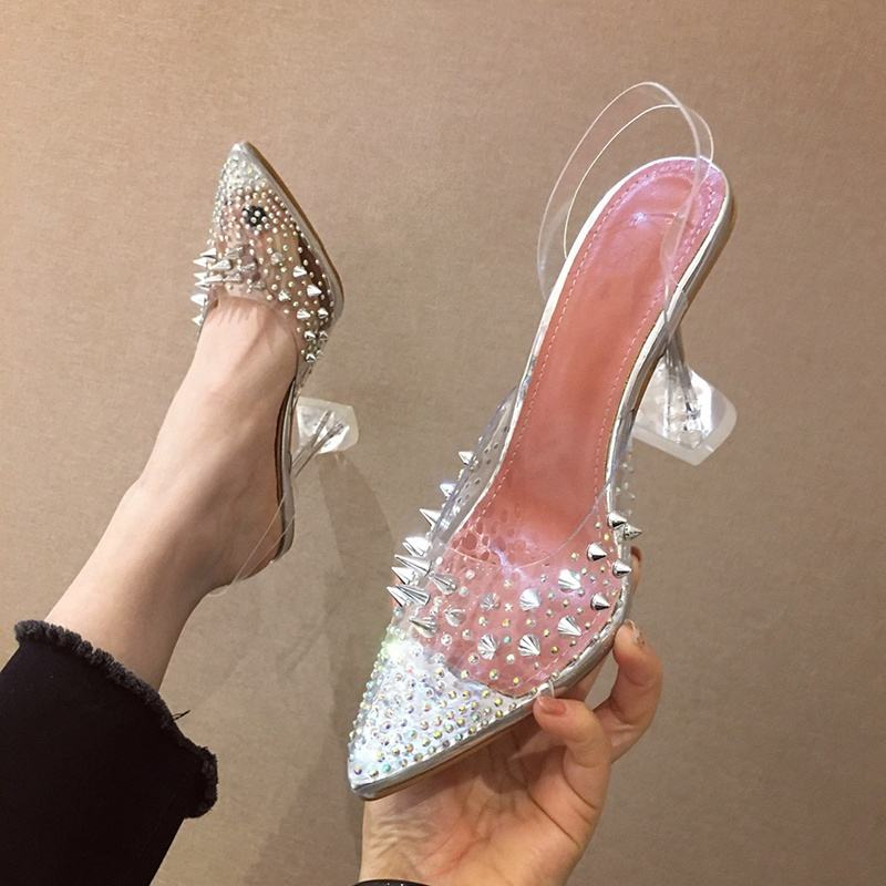 2020 New Fashion Style Pointed Toe 10cm High Heels Transparent PVC Rivets Buckle Strap Clear Sandals Pumps for Woman and Female