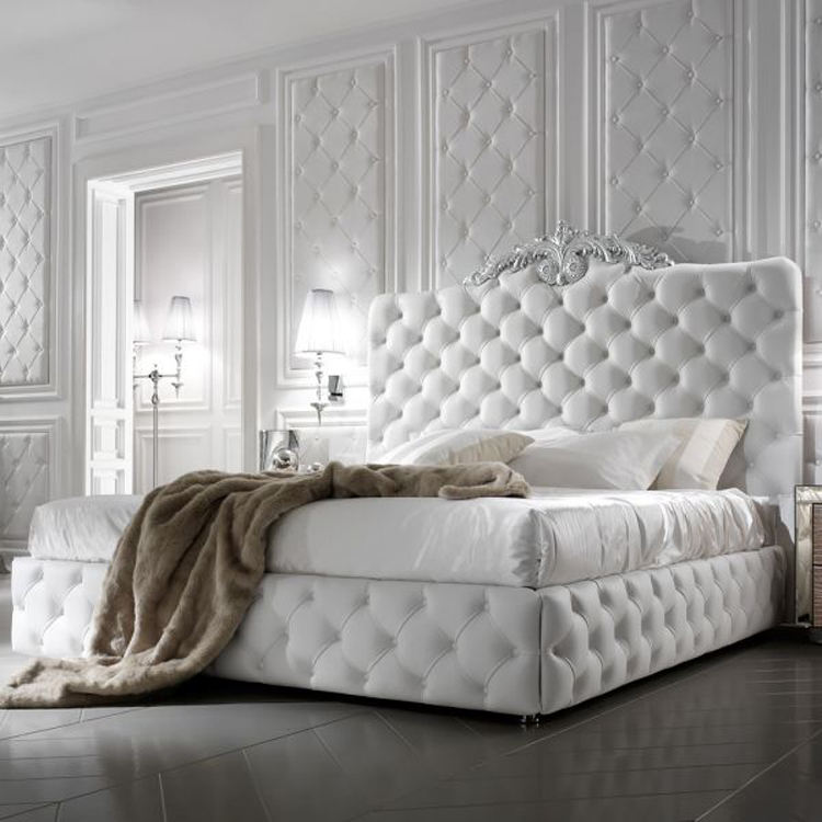 Italian white leather bed latest double design wood furniture bed