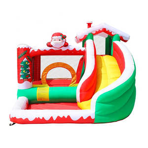 Merry Christmas Inflatables Santa Claus Cane Stick ELK Deer Bouncy House Water Slide Pool Christmas Inflatable Bouncer Combo