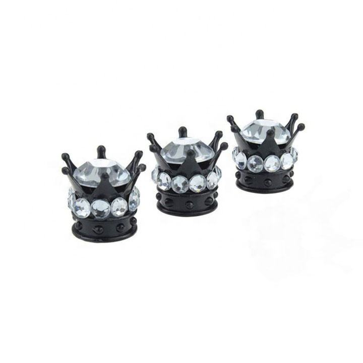 Car Truck Crown Waterproof Colorful Tire Valve Cap , Wheel Stem Air Tyres Valve Cap