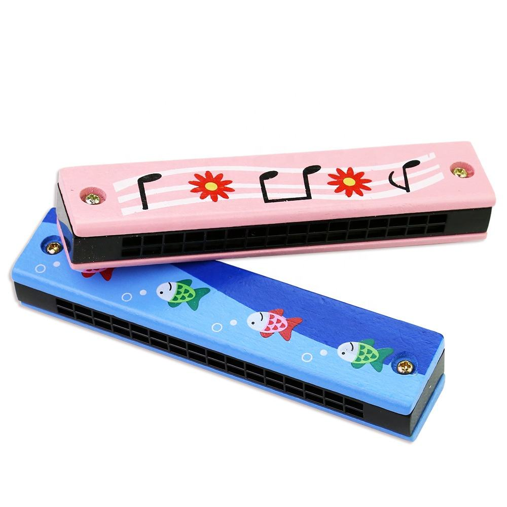 16holes colored drawing cute cartoon enlightenment educational musical toys wooden mouth organ harmonica