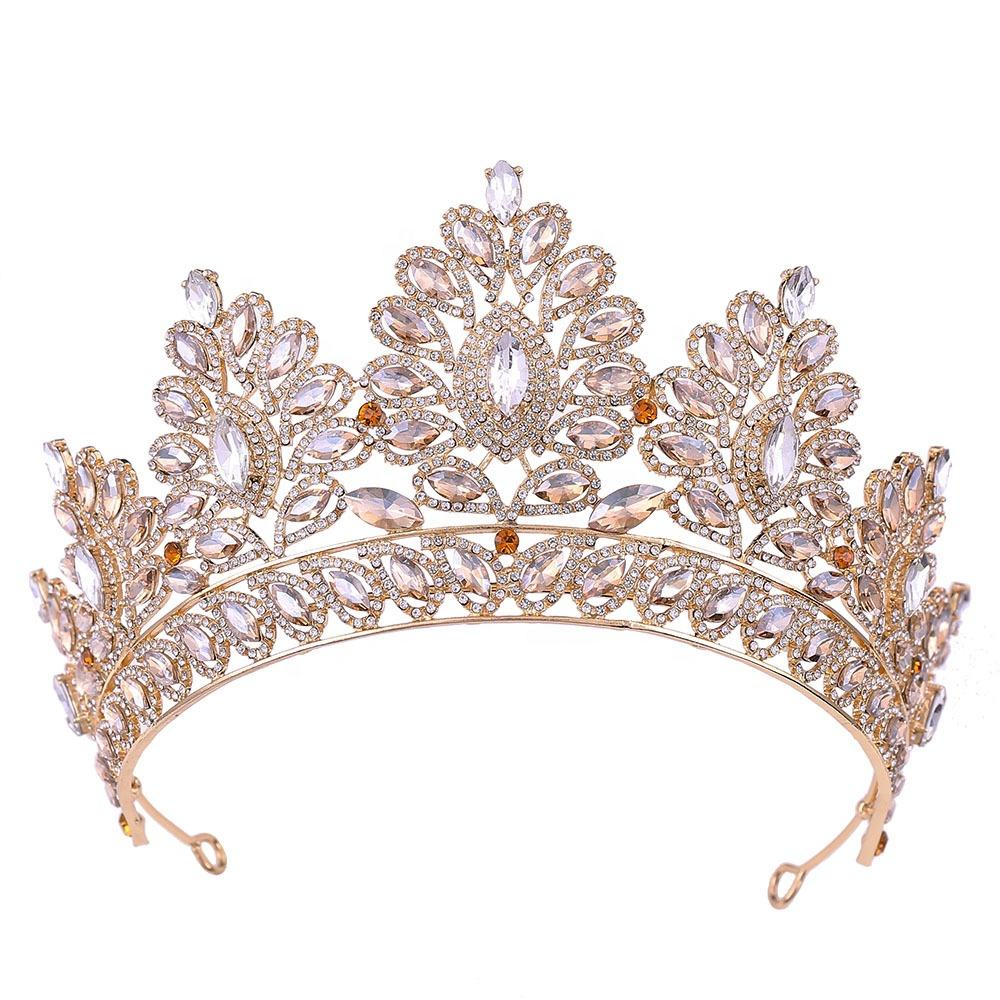 Wholesale Tall Large Tiara Adult Women Birthday Pageant Prom Queen Gold and Silver Multicolour Crystal Rhinestone Crown