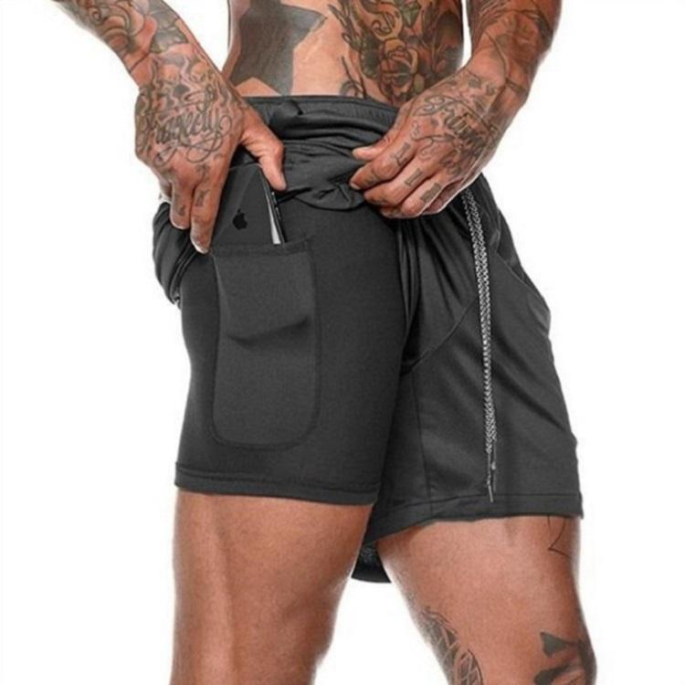 Wholesale Men Sportswear Training Running Short Pants Custom Double Layer Quick Dry Mens Gym Fitness Shorts with Pockets