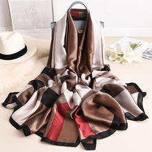 Wholesale 2020 hot sale women silk feeling scarf 3colors luxury brand logo print stain silk ladies sunscreen shawls