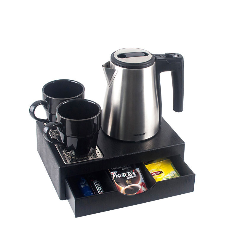Honeyson new 0.6L cordless hotel kettle welcome tray with drawer
