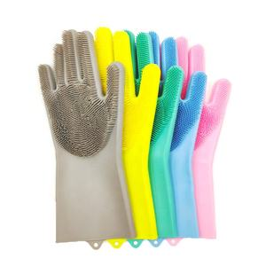 New Product Ideas 2019 BPA free Kitchen Cleaning Scrubber Reusable Silicone Dishwashing Gloves