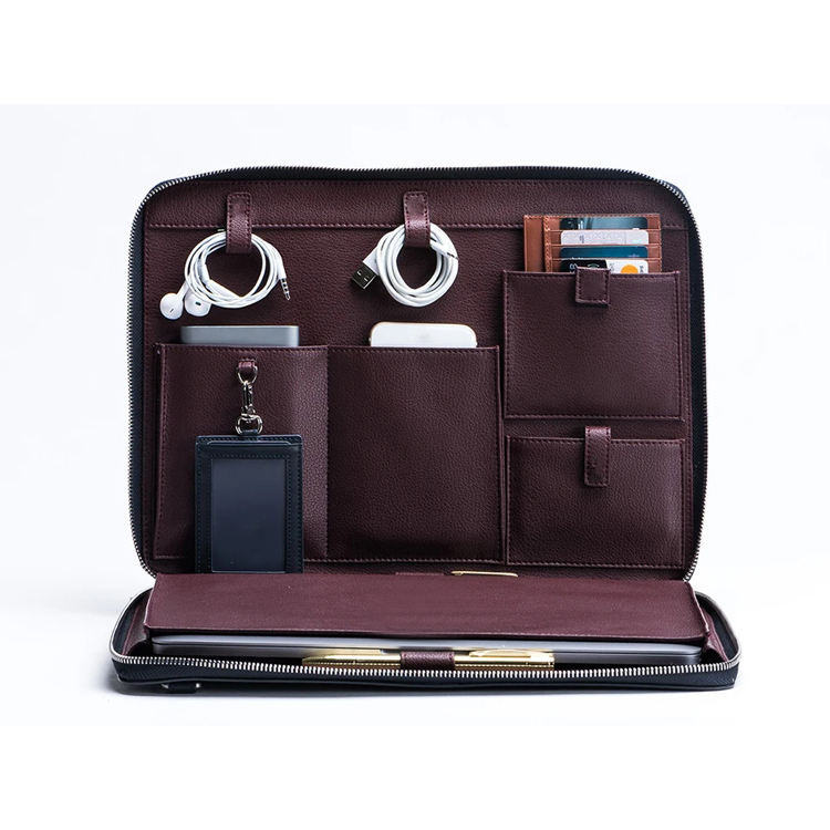 Professional multi-function hand clutch tech organizer travel padfolio padfolio tablet sleeve leather portfolio