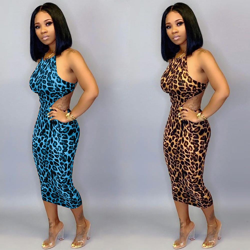 A90582 2020 Newest women clothes ladies sleeveless sexy leopard printed bodycon club mini dresses