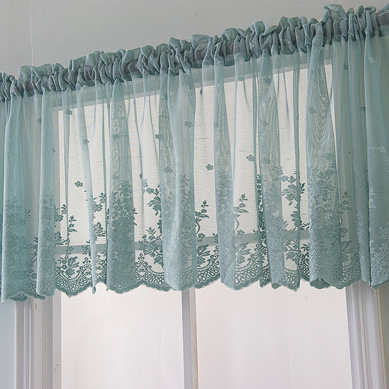 Top Seller Coffee Shop Window Lace Curtain Fresh Knitted Voile Rod Pocket Transparent Curtains
