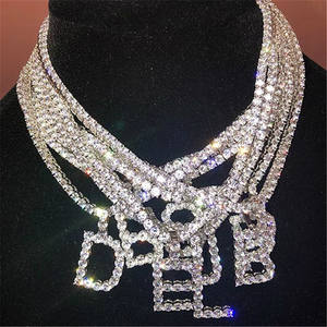 Customized Bling Diamond 26 Letters Hip Hop Name Necklace Zirconia Tennis Chain Initial Pendant Necklace