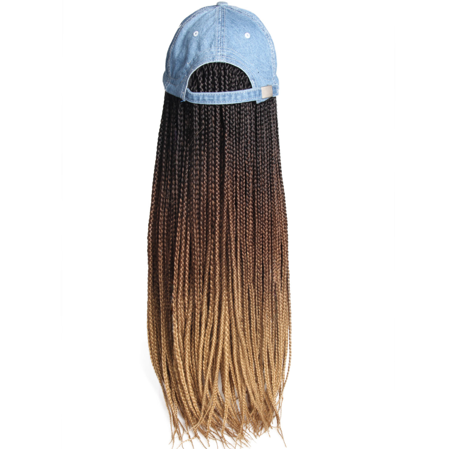 Synthetic braided hair human hair hat with wig for women