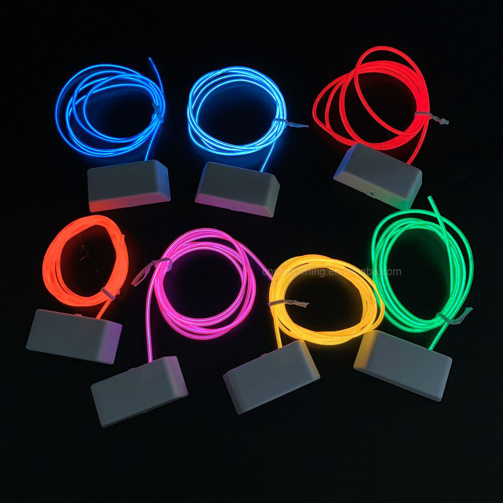 Factory OEM 2.3mm DIY glowing customized USB rechargeable inverter LED neon EL wire