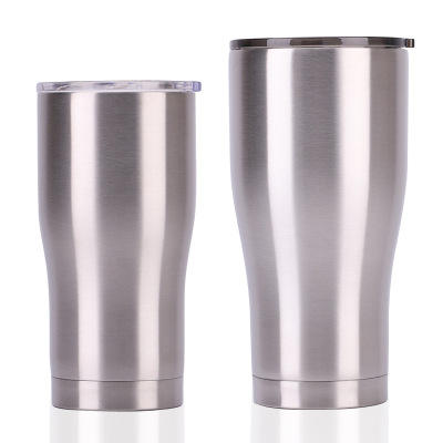 Curving stainless steel tumblers 30 oz 20 oz double wall insulation coffee mugs curve wine tumbler with lid