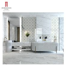 Waterjet century white marble brass mosaic tile for bathroom wall