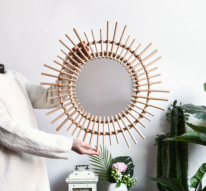 Wall Mirror Big Makeup Living Room Large Rattan Round Antique Magnifying Glass Furniture Decorative Home Decor Wall Mirror