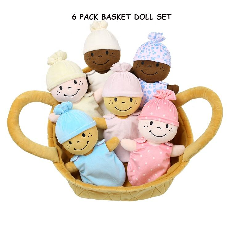 2019 Custom Baby Plush Toys Stuffed 6pack Basket of Babies Set Plush Dolls Toys Soft Baby Toys