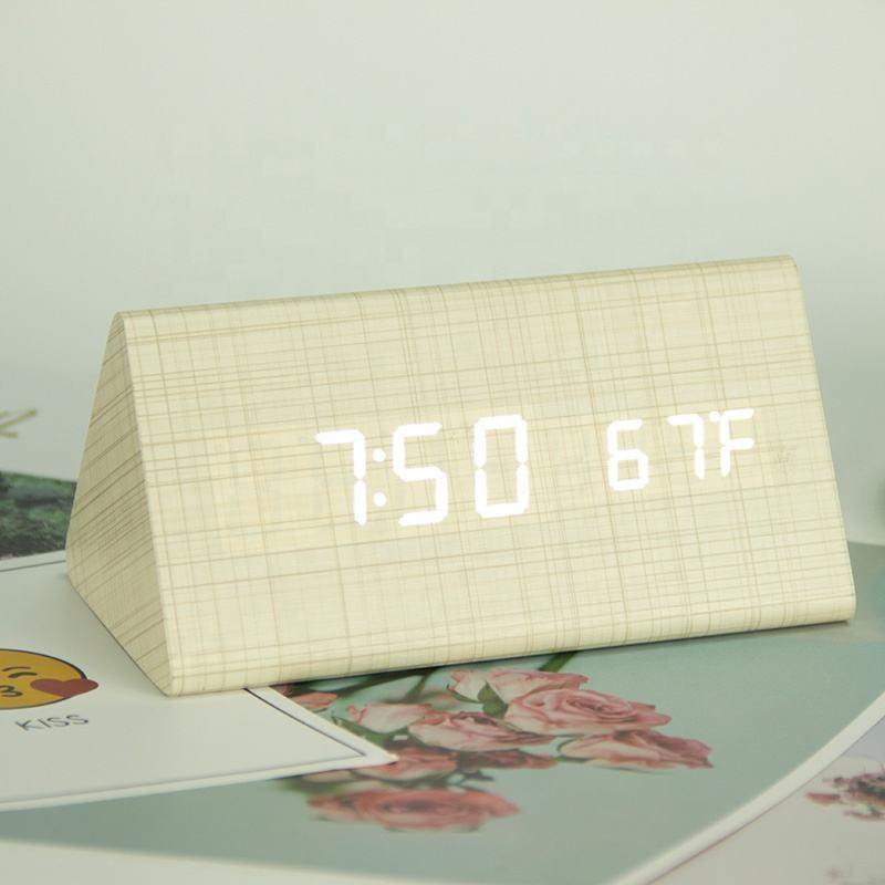 EC-W012 Digital electronic wooden LED table alarm clock desktop wooden alarm clock calendar with color wood for home decoration