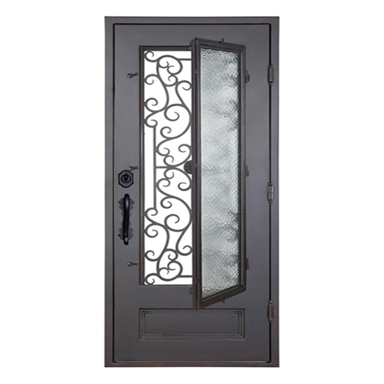 HS-ID005 low prices luxury exterior single wrought iron front gate door with opening window