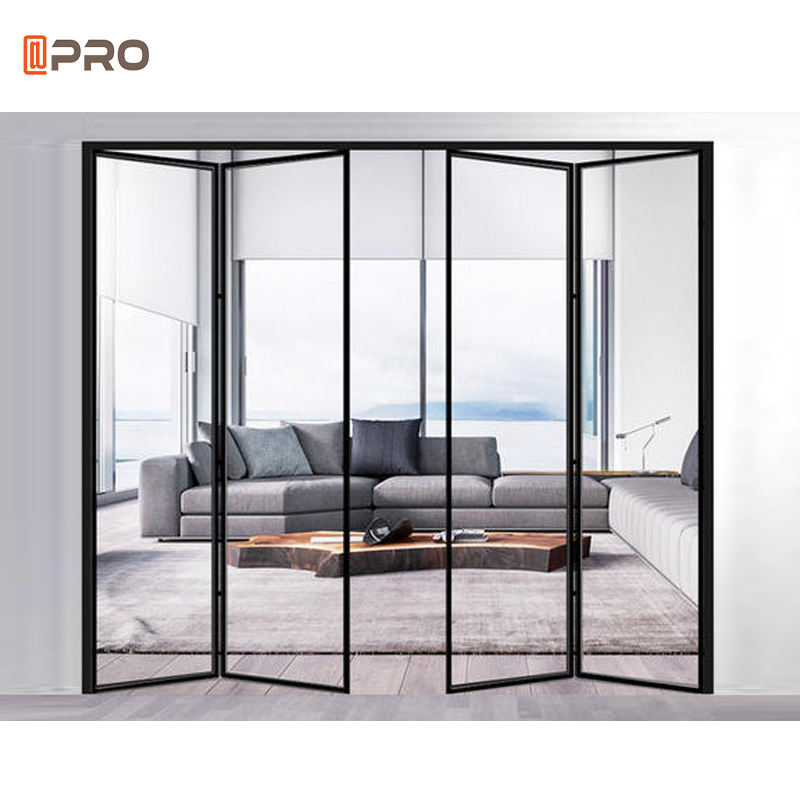 Factory High quality customized bi fold aluminum folding doors for veranda commercial folding doors aluminum glass bifold door