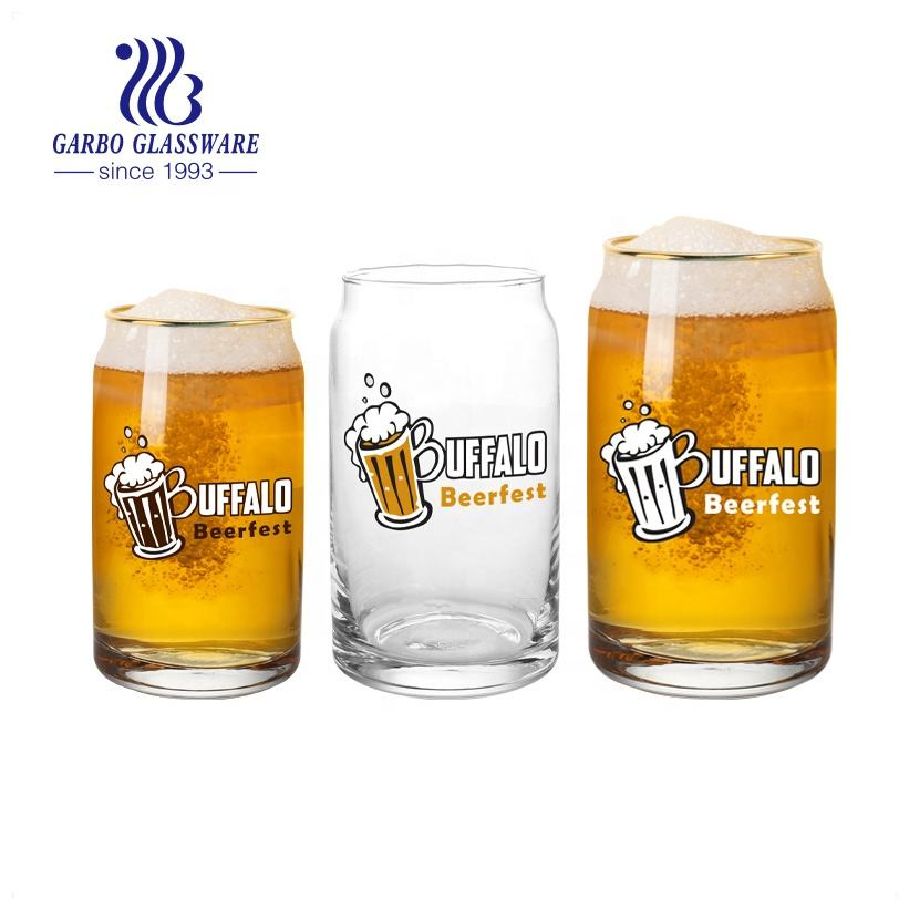 Beerfest barcode 330ml can-shaped beverage glass tumbler glass beer cup with decal gold rimmed