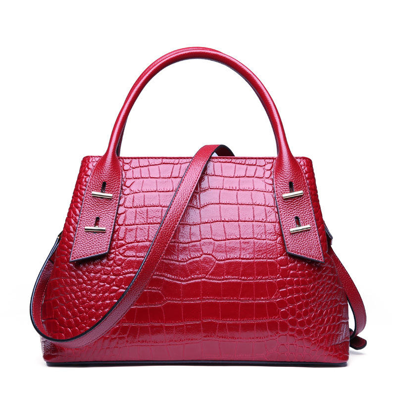 Wholesale 2021 genuine leather ladies purses luxury tote bag shoulder bag Retro Crocodile pattern cowhide women's handbag