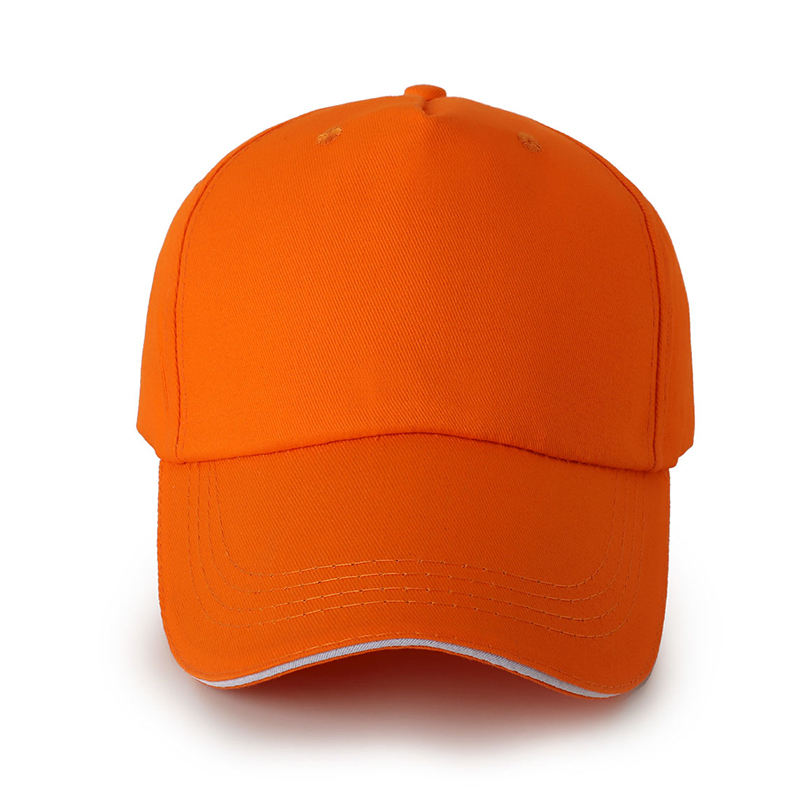ODM Customize Snapback Hats Sports Orange Cotton Golf Baseball Cap For Men