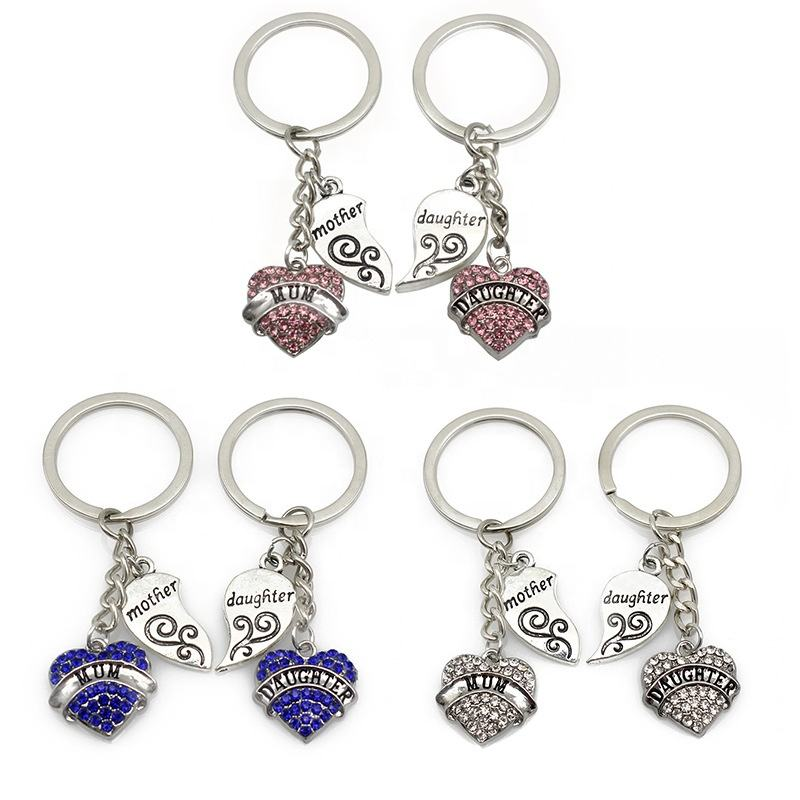 Amazon Hot Selling Metal Keychain Mother's Day Heart Letter With Diamond Mother And Daughter Keychain