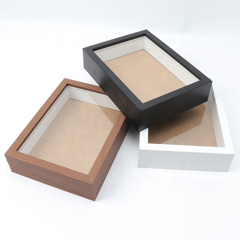 MDF Black or White shadow box photo picture frames box frames wholesale custom box picture wood frame