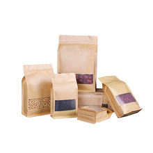 Kraft Paper Flat Bottom Zipper Packet, Sac En Papier Kraft Avec Fenetre