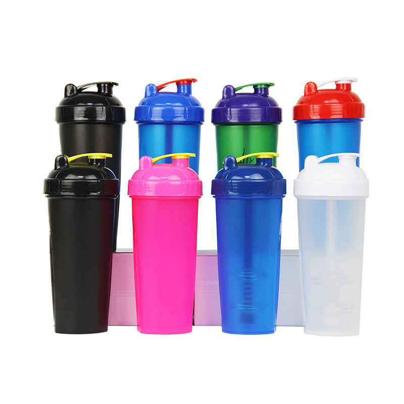 600ML BPA Free Gym Protein Fitness Plastic Sport Shaker Cup with Mixing Ball and Colorful Lid