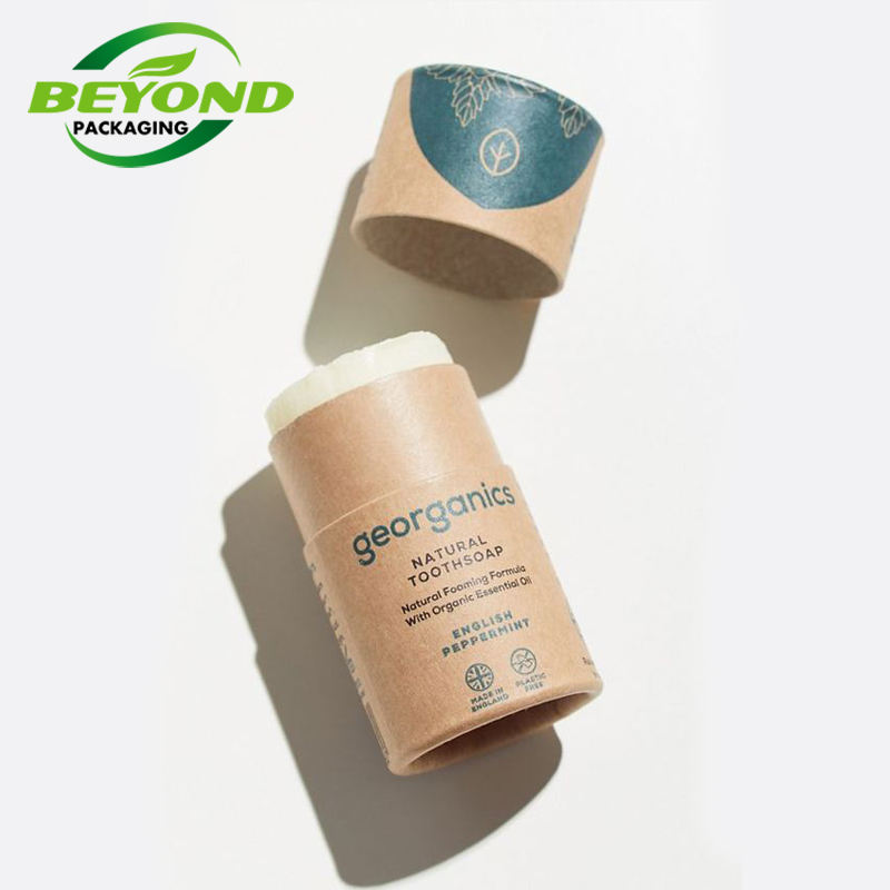 OEM Eco Recycled Custom Printing Popular Kraft Cardboard Push Up Paper Tube Wax Paper Lined 50ml Lip Balm/Deodorant Container