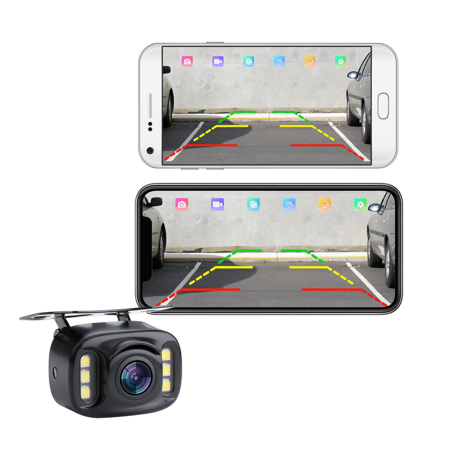 Wifi App Camera Reverse Parking 6 Led Backup Rear View Camera Truck Camera Systeem Voor Auto Rv Caravan