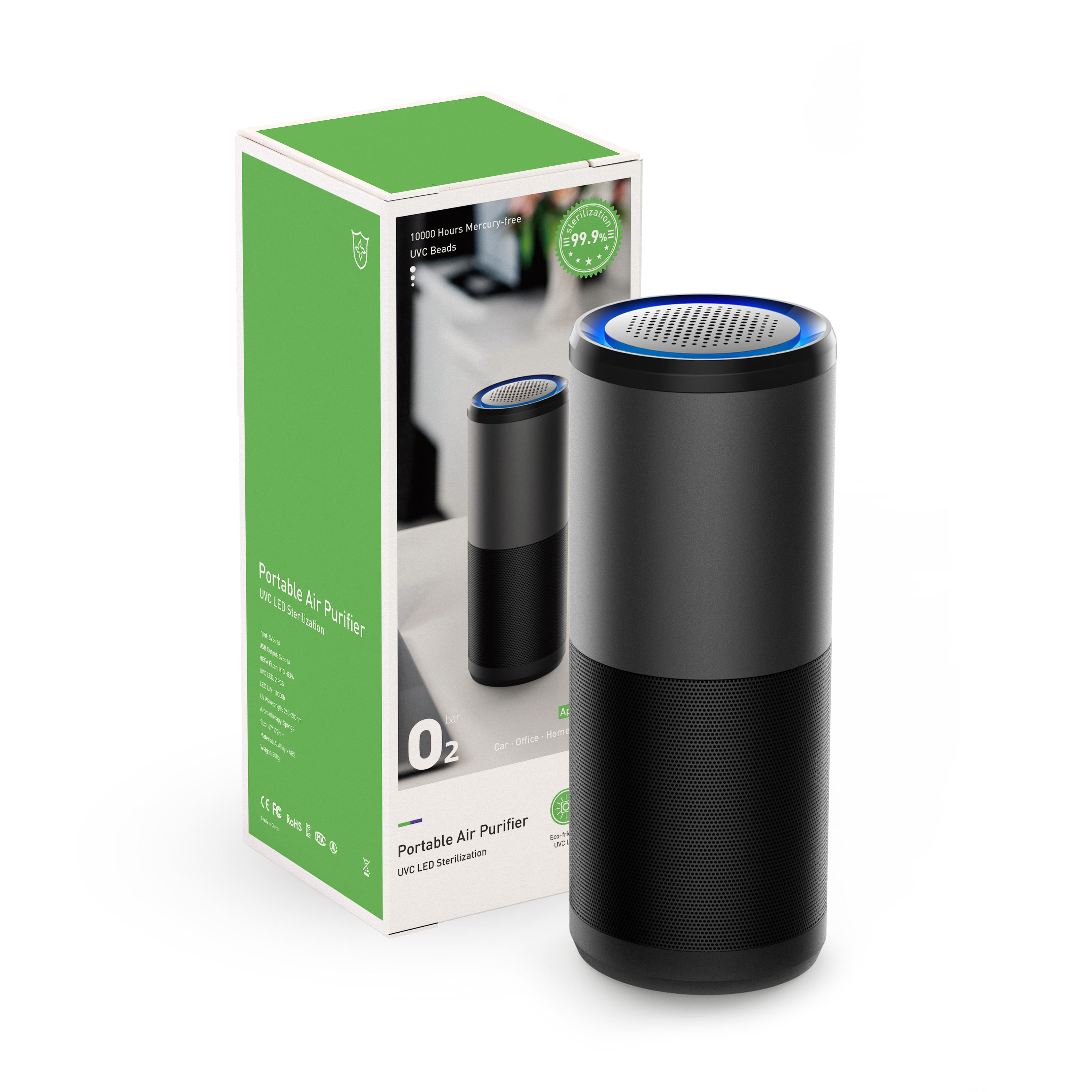 Draagbare Led Licht Uva Uvc Air Cleaner 13 Hepa Filter Voor Thuis Met Aromatherapie Auto Luchtreiniger