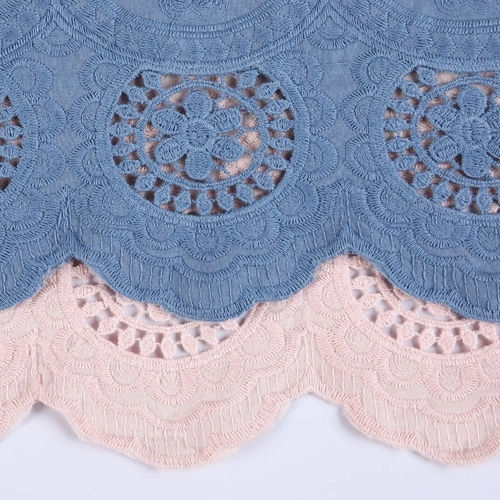 Denim Color Blue And Pink Woman Clothing Floral Cotton Embroidered Fabric