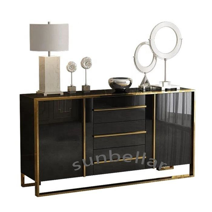 luxury cabinet modern high glossy stainless steel TV stand wood sideboard for dining room