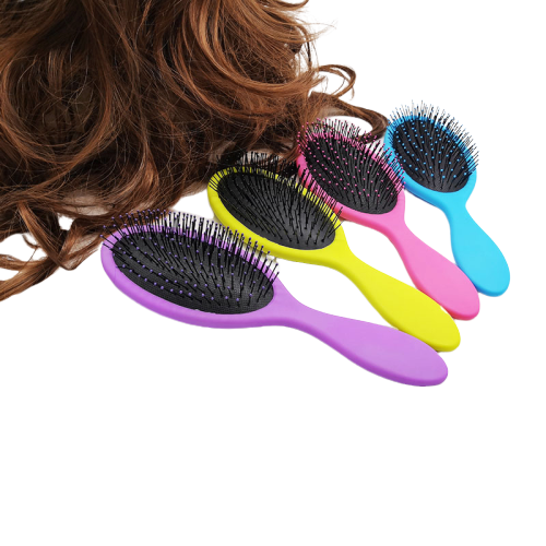 Customised color and Logo Spray rubber paint Portable Plastic wet Scalp Massage Hairbrush Grooming Comb