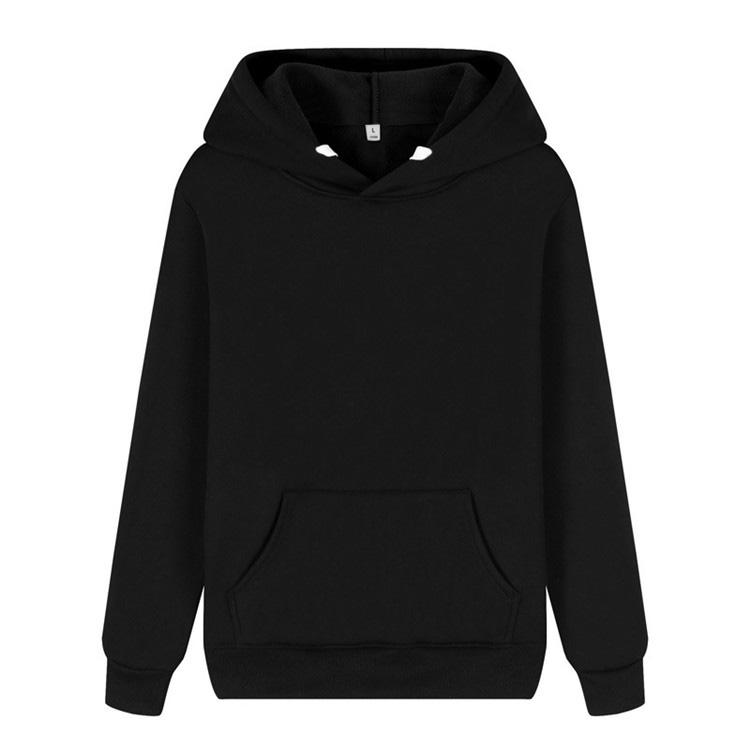 Wholesale Men Blank Heavyweight Hoodies Black Pullover String Hooded Sweatshirt with Front Pocket
