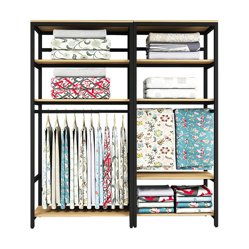 Furniture storage festive bedding container fabric shelf home textile shop display rack