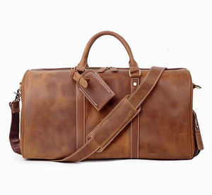 Handmade medium vintage leather holdall duffel bag custom size grain leather carryall weekender bag mens travel leather bag