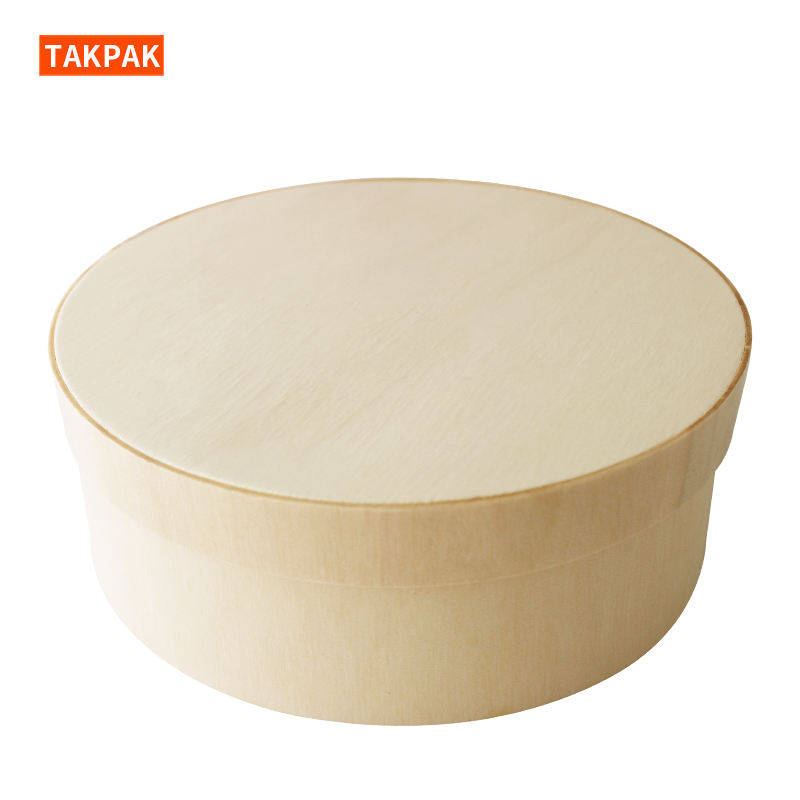 Organic Christmas Luxurious Wedding Wooden Round Cake Box Cheese Packaging Box For Gift