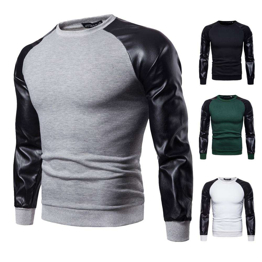Fashion Double Color Pullover Casual Hoody Men Leather Patchwork Hoodie