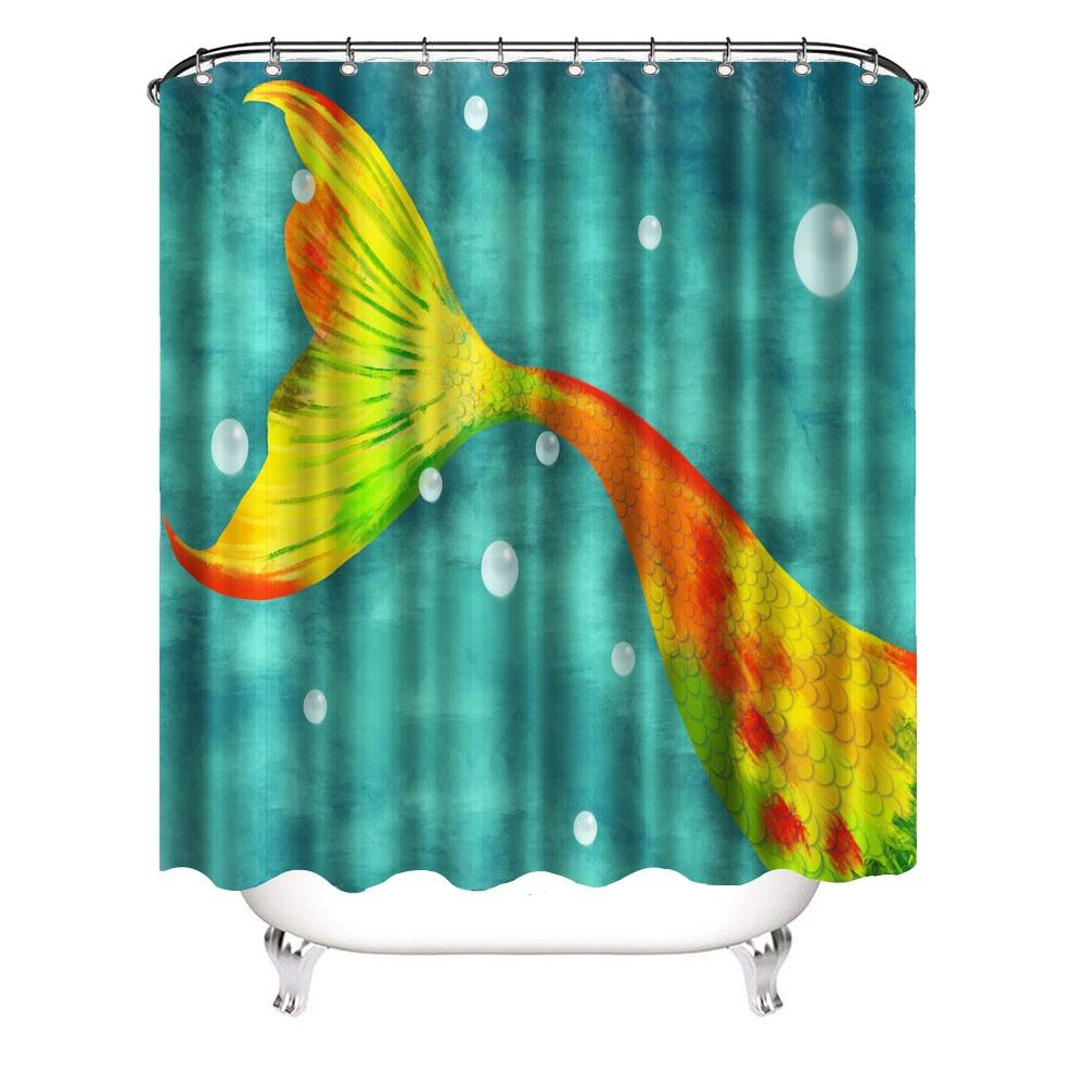 Colorful Mermaid Tail Shower Curtains Marine Painting 3D Printing Bathroom Shower Curtain with 12 Hooks Size 72x72inch