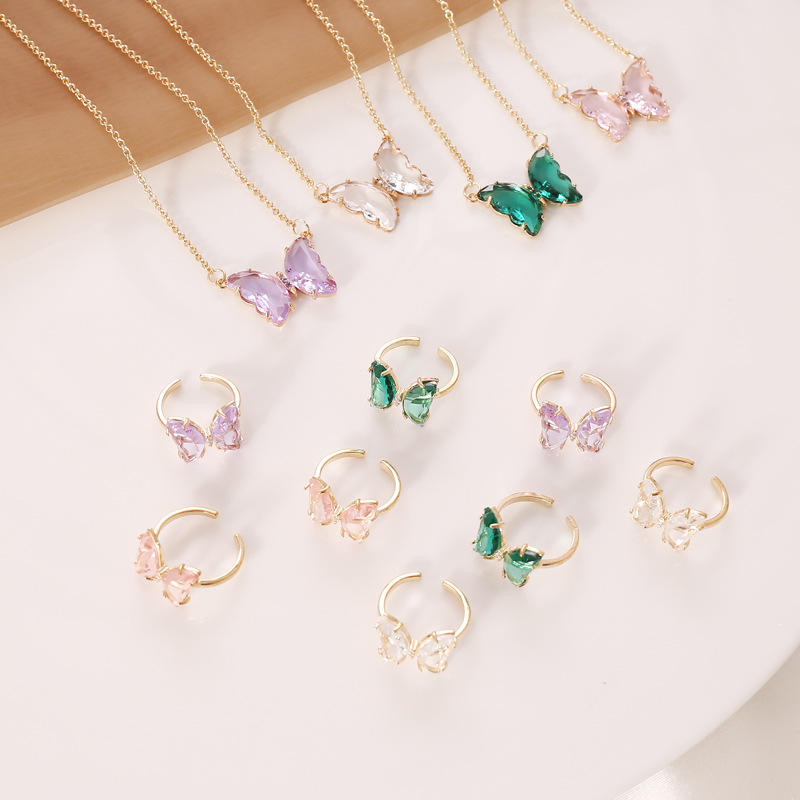 New Classic Designs Jewelry Flying Butterfly Necklace Delicate Butterfly Pendant Necklace Multicolor butterfly zirconb ring