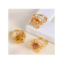 11500 Wholesale popular women jewelry flower shaped colorful zircon prong set finger ring