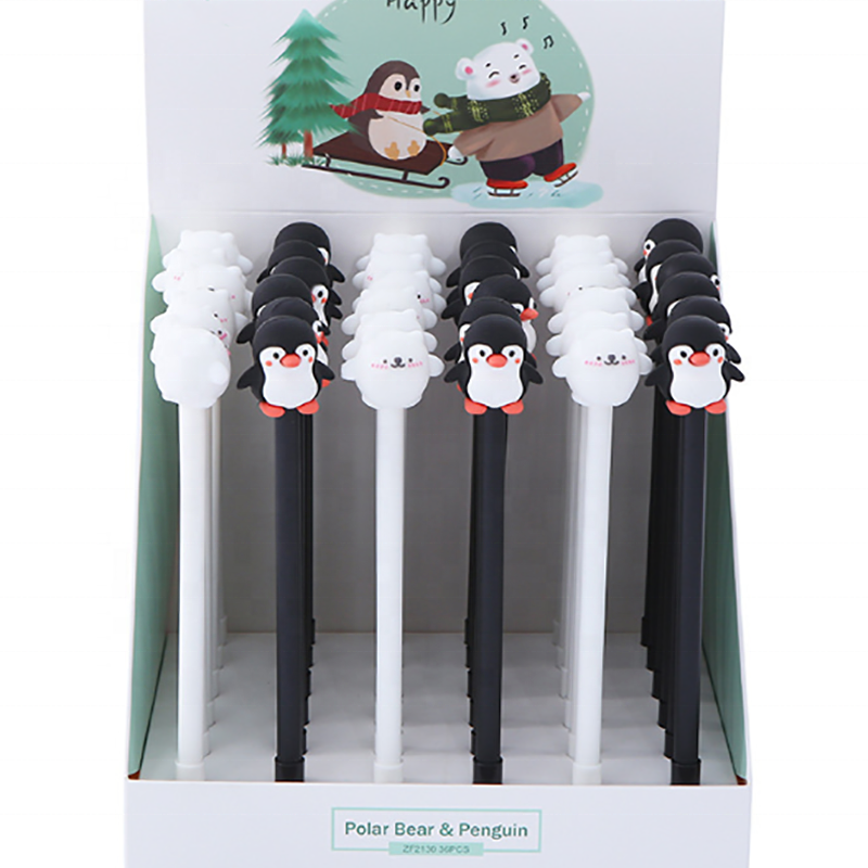 Cute Penguin and Bear erasable gel ink pen 0.5mm Cartoon gel pen set packed in display box for promotion