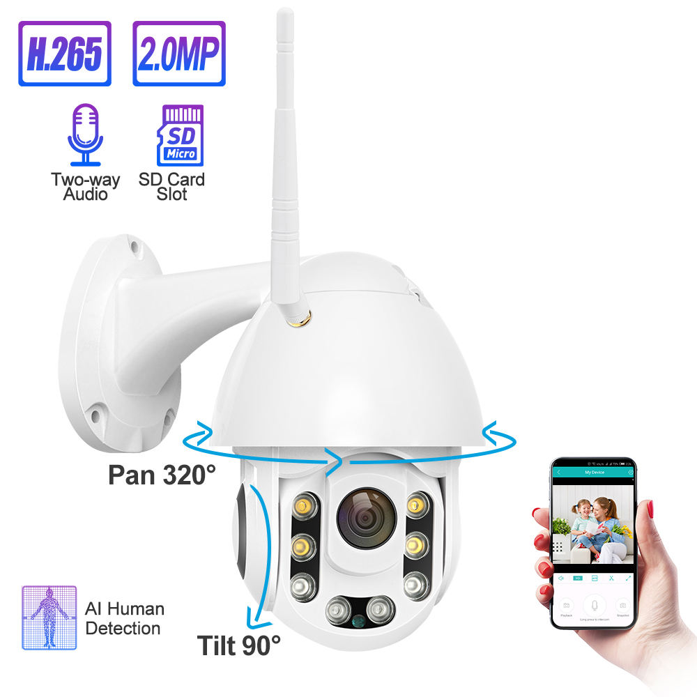 Waterdichte Outdoor Draadloze 1080P Ptz Camera Two Way Audio Ai Bewegingsdetectie Sd-kaart P2P Wifi Ip Camera