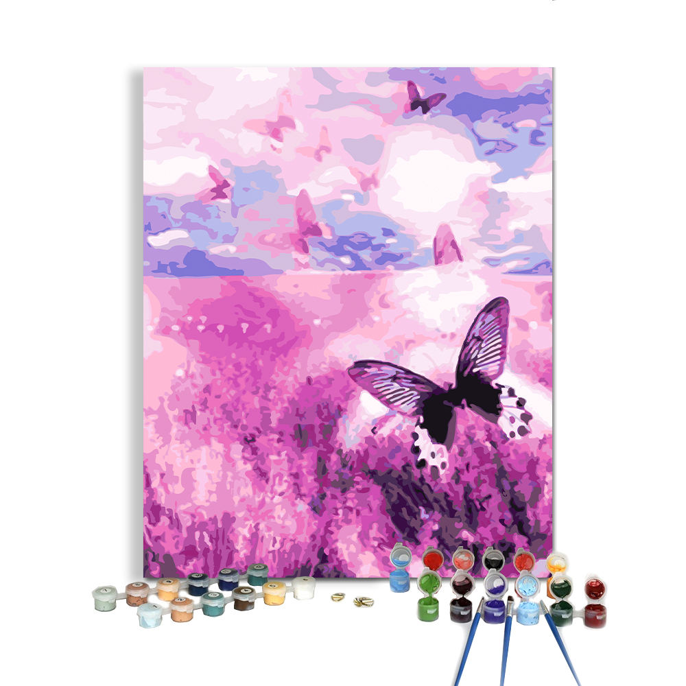 Dropshipping Picture Design Purple Flower Sea Lavender Butterfly DIY Flower Painting by Numbers