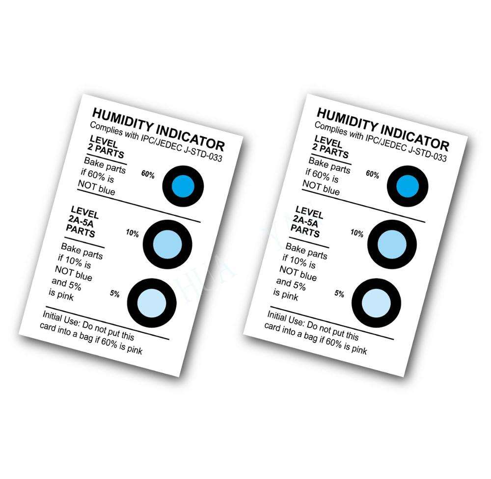 The popular HY brand customized Cobalt and Halogen Free 10% 20% 30% 40% 50% 60% humidity indicator cards