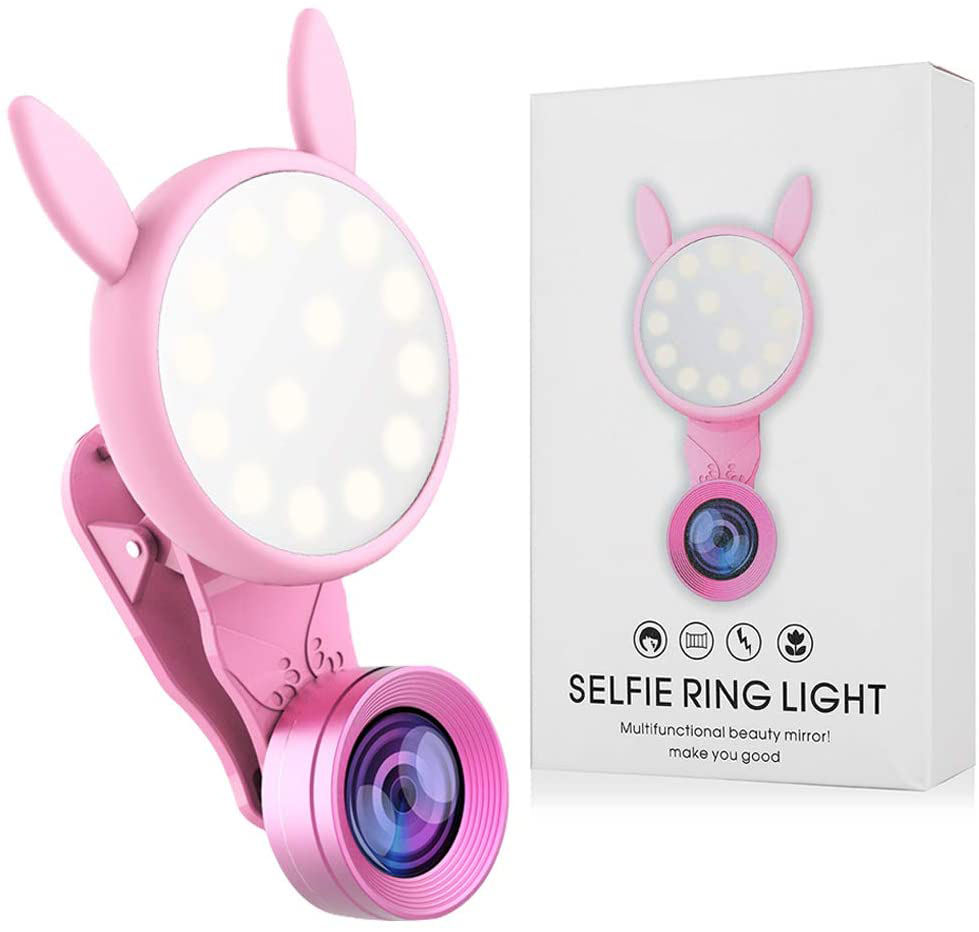 New Arrived Mini Portable Beauty Mobile Phone Camera Detachable HD Selfie Wide Angle Macro Lens Kit With Ring Flash Light