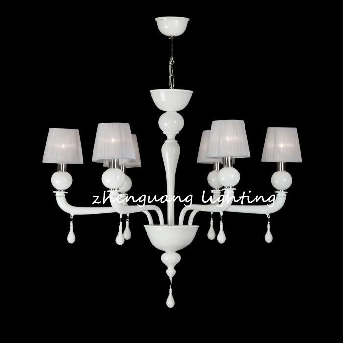 6 Light Murano White Pendant Chandelier Glass